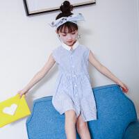 童话元素童装2018夏装女孩童装韩版女童连衣裙中大童无袖童裙公主条纹衬衫裙子