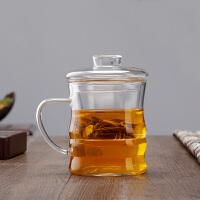 三件套竹节泡茶用过滤耐热玻璃杯350ML时尚带把玻璃功夫茶杯带盖套装茶具水杯耐热小玻璃杯家