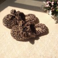 出口美国原单长毛绒豹纹棉拖鞋可爱居家地板室内拖鞋女家用
