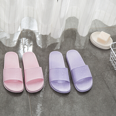 LOVO家纺 家居男女情侣防滑凉拖浴室纯色简约时尚拖鞋