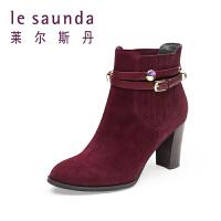 【顺丰包邮,大牌价:478】莱尔斯丹 秋冬新款女鞋专柜款尖头高跟单靴短靴8T80127