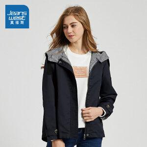 [秋装迎新限时购:136.8元,仅限8.21-26]真维斯女装 春秋装 休闲斜纹夹克外套