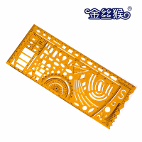 Jinsihou金丝猴4358 军事模板尺 带量角器耐折不易断建筑家具模板学生设计裁剪用透明K胶尺子测量绘图制图仪尺