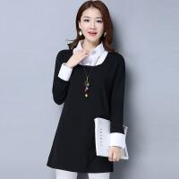 2017新款中长款大码女装假两件衬衫韩版长袖女T恤针织衫打底连衣裙17mm8969
