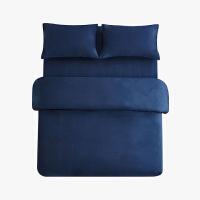 当当优品色织四件套 纯棉日式水洗磨毛床品 双人加大1.8米床 深蓝