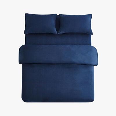 当当优品色织四件套 纯棉日式水洗磨毛床品 双人加大1.8米床 深蓝 当当自营 MUJI制造商代工