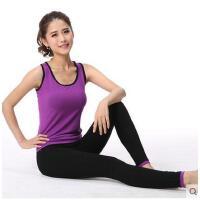 新款春夏户外运动文胸背心短袖瑜伽服跑步健身房 健身服女套装