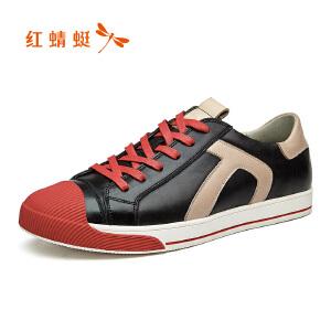 红蜻蜓男鞋2017年秋新新款皮鞋时尚潮流男士低帮单鞋韩版潮男鞋