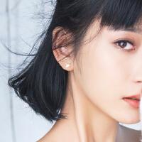 S925银叶耳钉女时尚气质个性创意百搭简约金色叶子耳环
