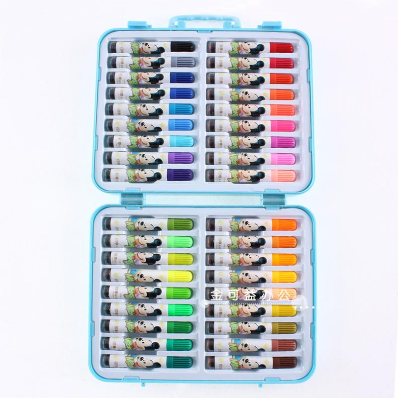 真彩文具18色24色36色迪士尼双头印章水彩笔礼盒套装彩笔画笔M108