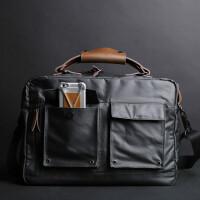 男士手提包休闲公文包男单肩包斜挎包商务包复古男包电脑包