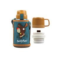 【限时秒杀】杯具熊(BEDDYBEAR)儿童保温杯带吸管316不锈钢双盖两用保温壶600ml 3D版-麋鹿