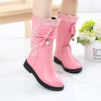 女童靴子2017秋新款中筒靴单靴真皮中大童马丁靴加绒雪地靴 长靴粉红色 27