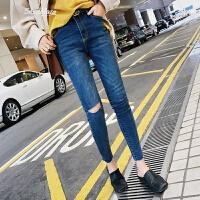2018春季新款女裤子韩版显瘦高腰牛仔裤女紧身小脚铅笔裤九分裤 牛仔蓝 S
