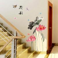 水墨荷韵国画装饰贴纸客厅卧室房间餐厅装饰墙贴J SK9270中国风荷花 中