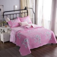 美式纯棉床盖三件套棉绗缝床盖毯子四季床单炕单空调夏被薄被子 曲边粉妆 230cmx250cm