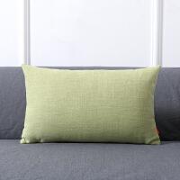 纯色加厚棉麻腰枕沙发抱枕靠垫现代简约客厅家用午睡枕长方形靠枕 30x50 加厚棉麻/含芯