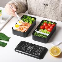 上班族饭盒双层日式分格便当可微波炉分格型沙拉保温健身减脂餐盒