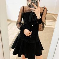 春装2018新款时尚女装潮蕾丝拼接上衣+短裙两件套洋气女神范套装