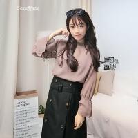 打底衫秋季吊带针织衫两件套长袖女新款韩版气质雪纺上衣显瘦