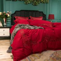 小镇风情婚庆四件套大红刺绣结婚床上用品美式欧式六件套