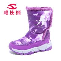 女童靴子加绒儿童棉靴冬季雪地鞋保暖冬靴童鞋短靴
