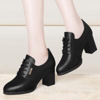 系鞋带短靴女士英伦风新品复古粗跟马丁裸靴子短筒高跟单里春秋季