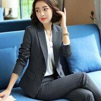 职业装套装女秋冬新款时尚条纹小西装套装修身西服正装面试工作服