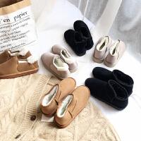 皮毛一体雪地靴女2018冬季新款韩版加绒保暖短筒纯色平底学生女靴