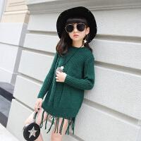 女童秋季韩版流苏中长款毛衣打底衫中大童高领修身长袖毛线针织衫 5871毛衣 绿色
