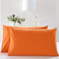 纯色磨毛枕头套全棉纯棉儿童学生单人枕套4874cm一对装2只 暖橙色 -枕套一对 48cmX74cm