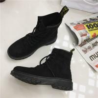 马丁靴女2018新款韩版复古系带骑士裸靴学生平底圆头英伦风短靴子