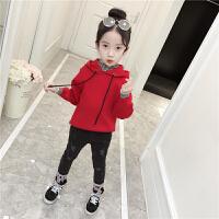 女童毛衣萌朵熙童装新款宝宝连帽拼条纹假两件保暖上衣儿童毛衣女 红色 纯色假两件毛衣