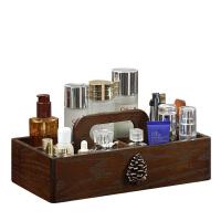 新品化妆品收纳盒子木质手提桌面抽屉式梳妆台整理盒护肤品置物架 松果手提五格收纳盒