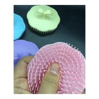 圆形塑料洗头梳子 洗发刷 圆形头部按摩 头皮按摩器刷 塑料硅胶抓头挠 颜色默认发