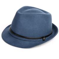 男士帽子秋冬季礼帽男 英伦简约切边爵士帽女