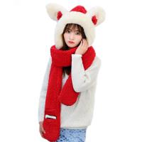 帽子围巾手套三件一体女冬季韩版加厚保暖可爱儿童围脖两用秋冬天