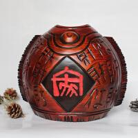 桃木中式家居酒柜装饰品鱼储蓄罐创意实木存钱罐摆件