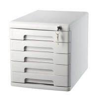 得力9778桌面文件柜五层带锁抽屉式资料办公收纳箱储物盒档案柜