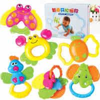 婴儿玩具 0-1岁 婴幼儿益智早教 牙胶手摇铃 新生儿女男宝宝玩具