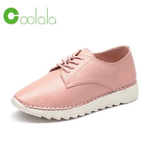 红蜻蜓coolala女鞋2017春季新款韩版时尚单鞋系带真皮运动休闲鞋