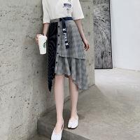 皮卡丘联名款 MG小象半身裙女中长款2019新款高腰不规则格子半裙