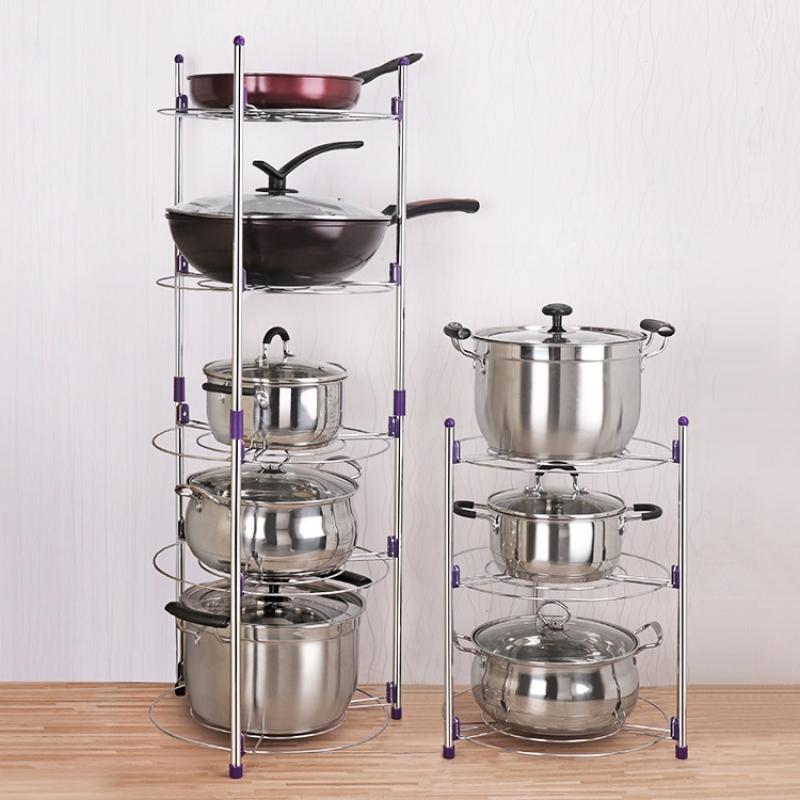 厨房置物架用品用具多功能家用放锅架圆形储物架落地多层收纳锅架