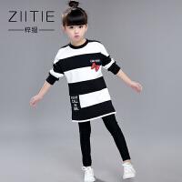 童装新款女童秋装T恤韩版秋冬大童加绒长袖儿童打底衫