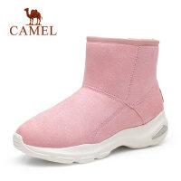 骆驼秋冬季新款厚底雪地靴保暖加绒运动增高绒面加厚短靴子女