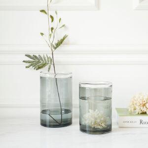 【每满100减50】幸阁 插花水培花器冷灰彩色玻璃花瓶 饰家手工花插