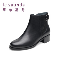 【到手参考价:372】莱尔斯丹秋冬中跟皮靴女短筒拉链女靴切尔西靴 8T36722