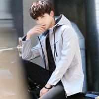 男装外套春装2018新款 韩版潮流时尚纯色青年男士连帽中长款夹克 KLQ-J771