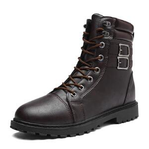 秋冬季新款马丁靴男军靴男士棉鞋真皮高筒加绒保暖男靴高帮男鞋子