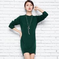 2018春季新款韩女半高领中长款纯羊绒衫开叉毛衣套头针织打底衫